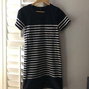 JCrew navy/white stripe dress